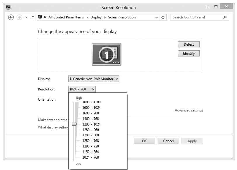 Windows 8 - изменение разрешения экрана