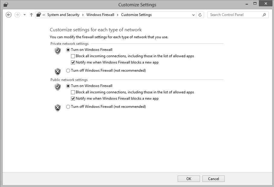 Настройка брандмауэра Windows 8
